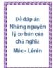 Đề đáp án Những nguyên lý cơ bản của chủ nghĩa Mac-Lenin