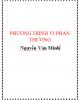 Phương trình vi phân thường - Nguyễn Văn Minh