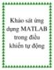 Khảo sát ứng dụng MATLAB trong điều khiển tự động