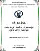 Bài giảng môn học Phân tích hiệu quả kinh doanh: Phần 2 - ThS. Lê Xuân Thủy