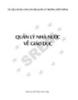 Ebook Quản lý nhà nước về giáo dục - NXB Hà Nội