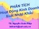 Bài giảng Phân tích hoạt động kinh doanh xuất nhập khẩu - Nguyễn Xuân Hiệp
