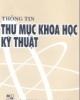 Ebook Thông tin thư mục khoa học kỹ thuật - NXB ĐH Quốc gia Hà Nội