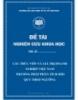 """Đề tài nghiên cứu khoa học """"Cấu trúc vốn và giá trị doanh nghiệp Việt Nam phương pháp phân tích hồi quy theo ngưỡng"""""""