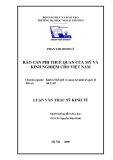 Luận văn thạc sĩ kinh tế: Rào cản phi thuế quan của Mỹ và kinh nghiệm cho Việt Nam