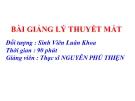 Bài giảng Lý thuyết mắt: Đục thể thủy tinh - ThS. Nguyễn Phú Thiện