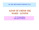 Bài giảng Kinh tế chính trị Marx - Lenine - TS. Võ Trọng Đường
