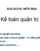 Bài giảng Kế toán quản trị - GV. Nguyễn Đình Khiêm